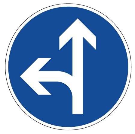 Verkehrsschild / Verkehrszeichen Fahrrichtung Pfeil links geradeaus 420 mm rund Aluminium reflektier