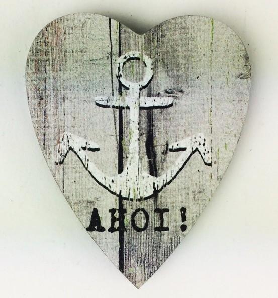 Herz Magnet Holz Anker AHOI grau Herzmagnet Holzmagnet …