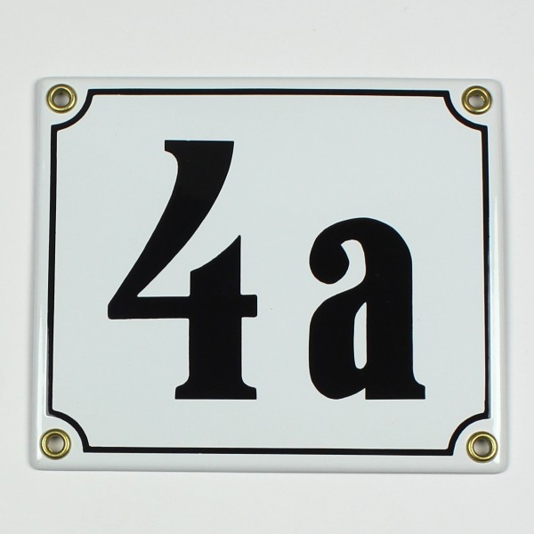 4a weiß Clarendon 14x12 cm sofort lieferbar Schild Emaille Hausnummer
