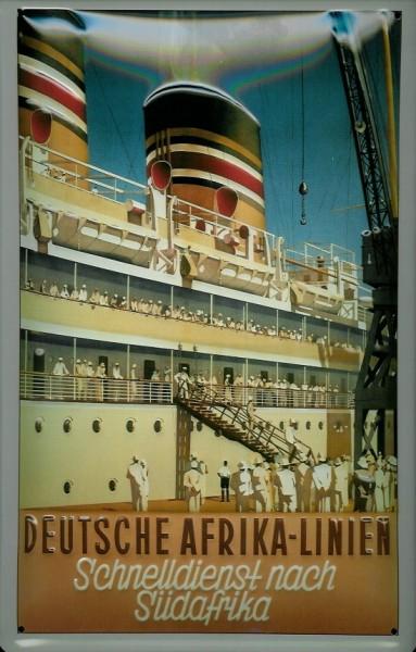 Blechschild Deutsche Afrika Linie Dampfer Schnelldienst nach Südafrika Schiff Schild Nostalgieschild