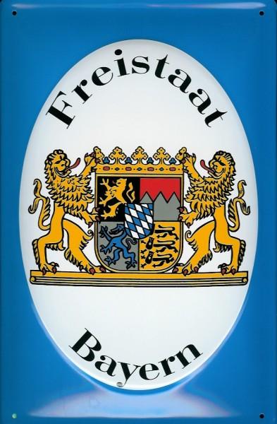 Blechschild Nostalgieschild Freistaat Bayern Wappen Löwe
