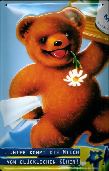 Blechschild Milch Bär mit Sonnenblume Teddy Teddybär Dosenmilch Schild Werbeschild