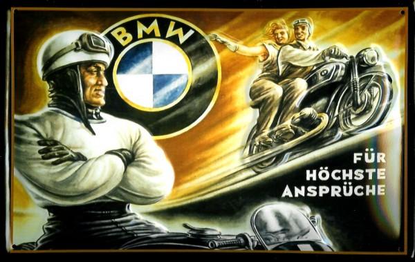 Blechschild BMW Motorrad Beifahrer Sozius für höchste Ansprüche Schild Nostalgieschild retro Schild
