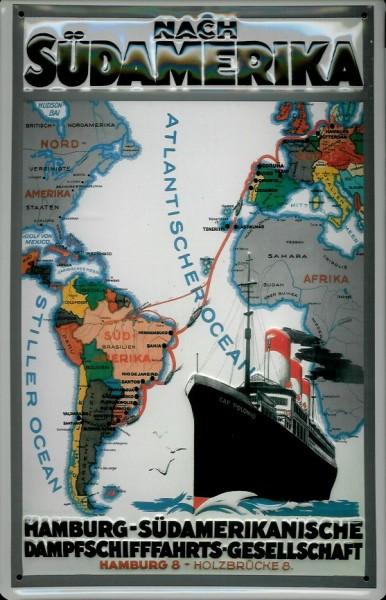 Blechschild Hamburg Süd Dampfer Landkarte Südamerika Dampfer Schiff Schild Nostalgieschild
