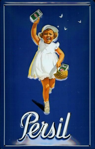 Blechschild Persil blau Kind Waschpulver Schild Nostalgieschild