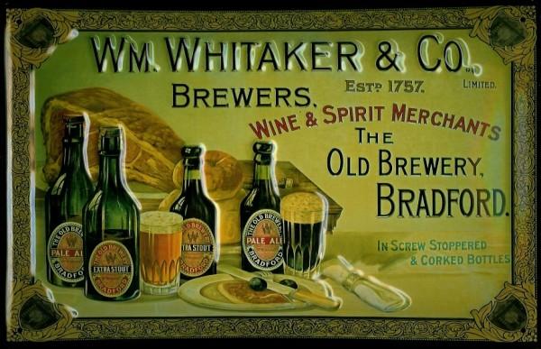 Blechschild Whitaker & Co. Brewers Bradford Bier retro Schild Werbeschild