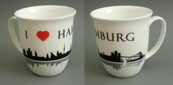 I love Hamburg Kaffeebecher Skyline 400ml Souvenir Kaffeetasse Kaffee Becher Andenken