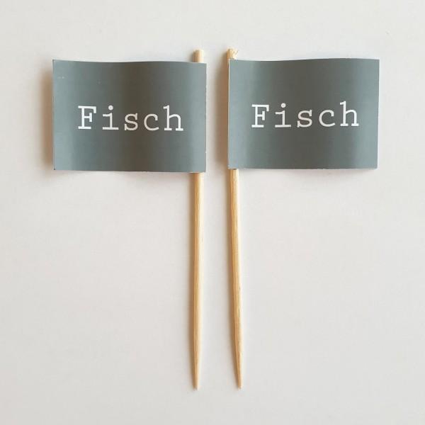 Party-Picker Flagge GRAU Fisch Papierfähnchen in Spitzenqualität 50 Stück Beutel