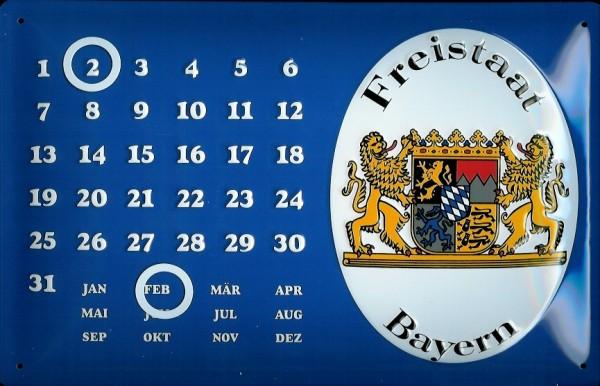 Blechschild Nostalgieschild Freistaat Bayern Magnet Kalender