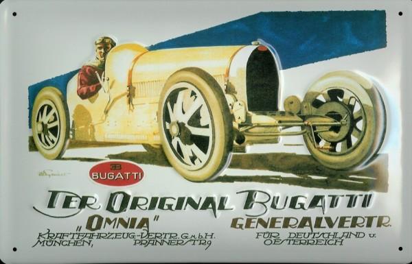 Blechschild Bugatti Omnia Oldtimer Rennwagen retro Schild Autorennen Nostalgieschild Schild