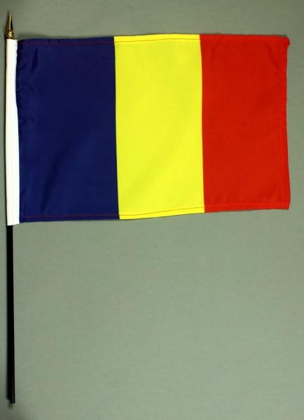 Tischflagge Rumänien 20x30 cm optional mit Tischflaggenständer aus Mahagoni Holz