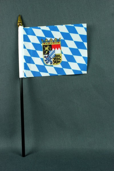 Kleine Tischflagge Bayern mit Raute und Wappen 10x15 cm optional mit Tischfähnchenständer
