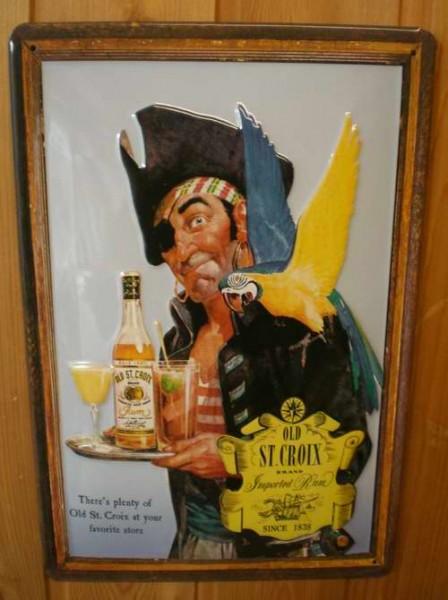 Blechschild Old St. Croix Pirat mit Papagei retro Schild Kneipenschild