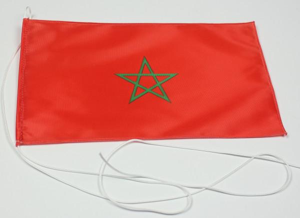 Tischflagge Marokko 25x15 cm optional mit Holz- oder Chromständer Tischfahne Tischfähnchen