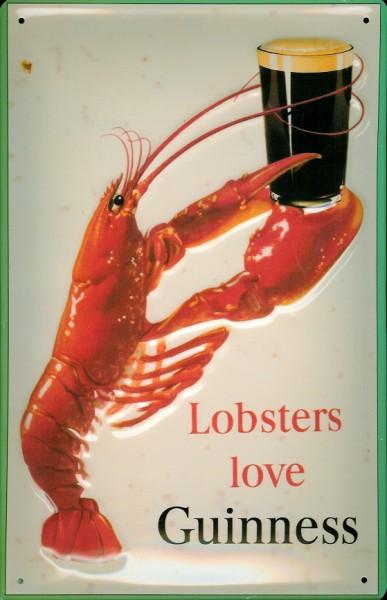 Blechschild Guinness Bier Lobsters love Guinness Hummer Bierglas Schild Werbeschild
