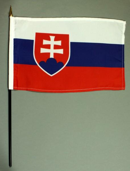 Tischflagge Slowakei 20x30 cm optional mit Tischflaggenständer aus Mahagoni Holz