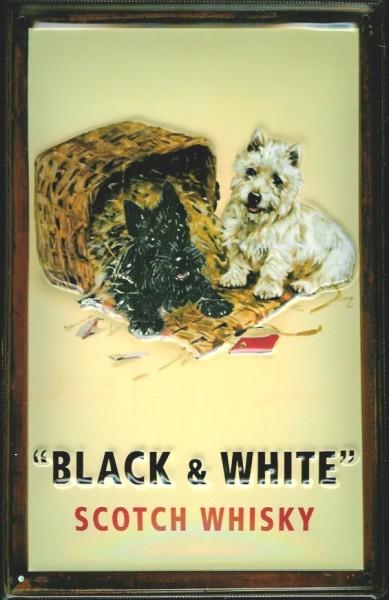 Blechschild Black & White Scotch Whisky Korb Hund Katze Schild Nostalgie Werbeschild