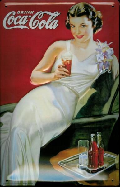 Blechschild Coca Cola Lady weisses Kleid Coke nostalgisches Werbeschild retro Schild