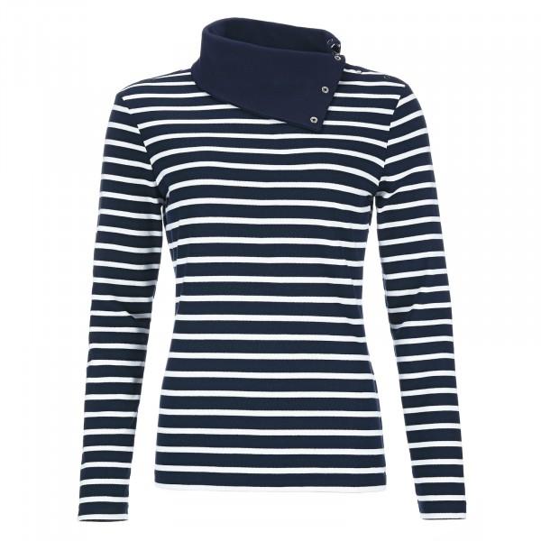 Bretonisches Damen Shirt langer Arm mit hohen Kragen und Druckknopfleiste