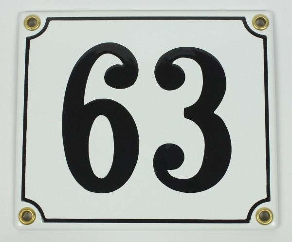 63 weiß Clarendon 12x14 cm sofort lieferbar Schild Emaille Hausnummer
