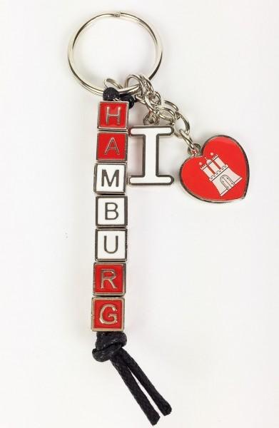 Schlüsselanhänger I love Hamburg Herz Würfel Kette rot weiß Mitbringsel Deko Souvenir