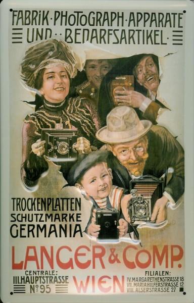 Blechschild Nostalgieschild Langer Kameras Wien Germania Trockenplatten