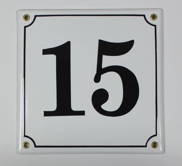 15 weiss 20x20 cm sofort lieferbar Schild Emaille Hausnummer