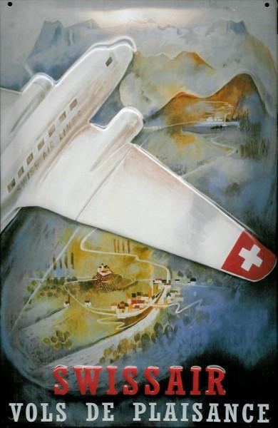 Blechschild Nostalgieschild Swissair Flugzeug Berge