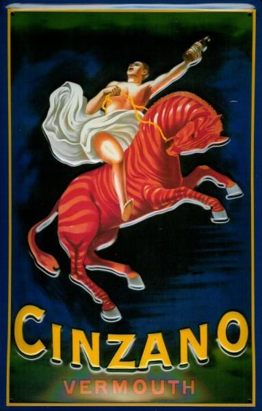 Blechschild Cinzano Vermouth Aperitif Pferd Zebra retro Schild Nostalgieschild