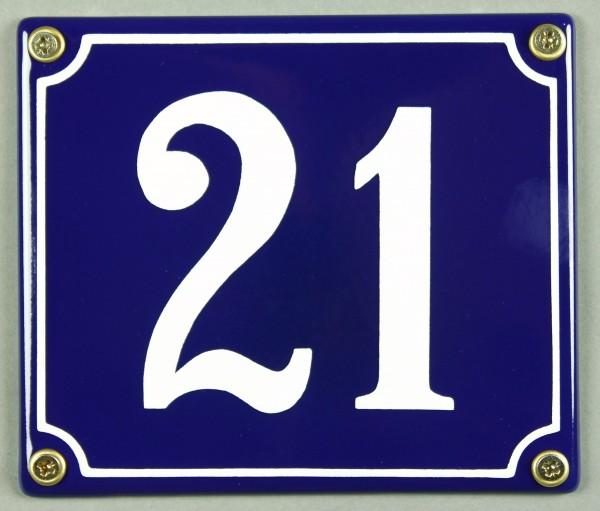 Hausnummernschild Emaille 21 blau - weiß 12x14 cm sofort lieferbar Schild Emaile Hausnummer Haus Num