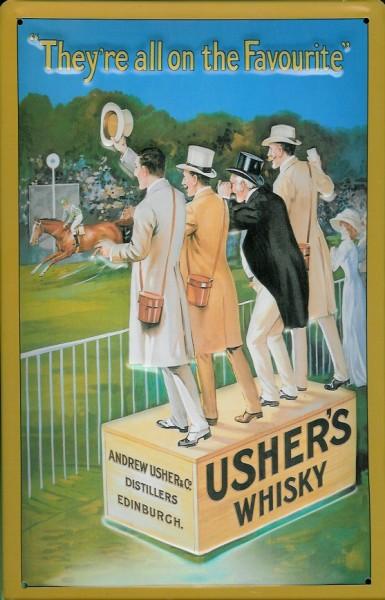Blechschild Usher's Whisky Pferderennen Schild Pferd retro Werbeschild