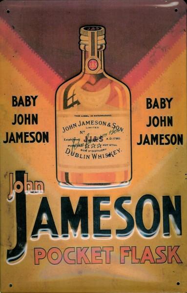 Blechschild John Jameson Whiskey Pocket Flask Flachmann Schild Taschenflasche