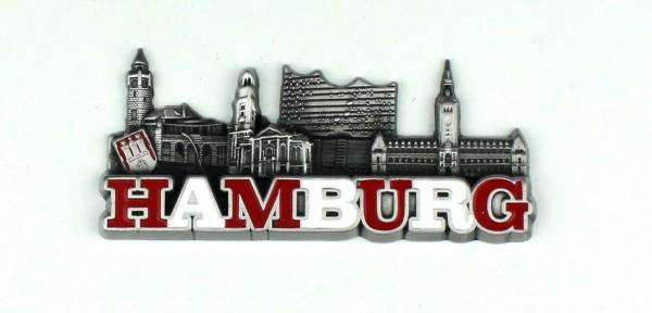 Magnet Hamburg rot weiß 4 Wahrzeichen Souvenir Mitbringsel Geschenk Deko
