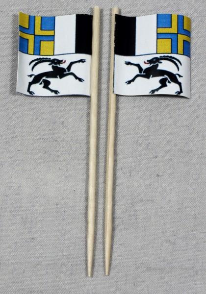 Party-Picker Flagge Graubünden Kanton Schweiz Papierfähnchen in Spitzenqualität 50 Stück Beutel