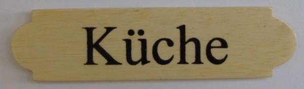 Eckiges Holz - Türschild Küche 3x12 cm helles Holzschild