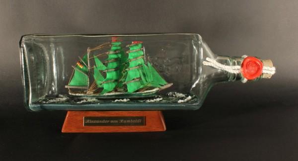 Alexander von Humboldt eckige Ginflasche 0,7 Liter Buddelschiff Flaschenschiff