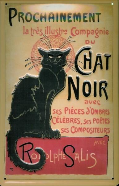 Blechschild Nostalgieschild Chat Noir Katze Kater Werbeschild retro Schild