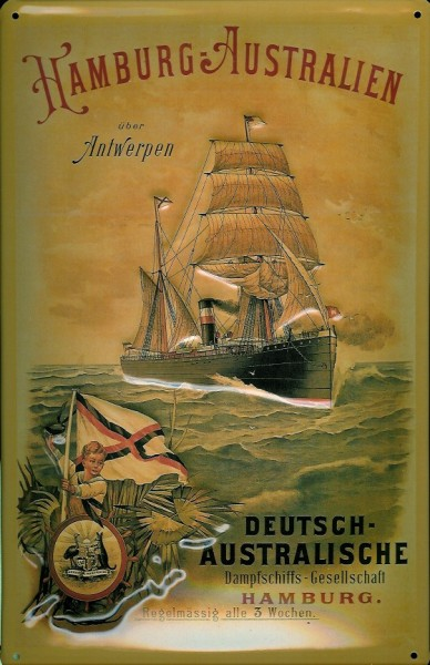Blechschild Hamburg Australien via Antwerpen Segelschiff Dampfer Schiff Schild Nostalgieschild