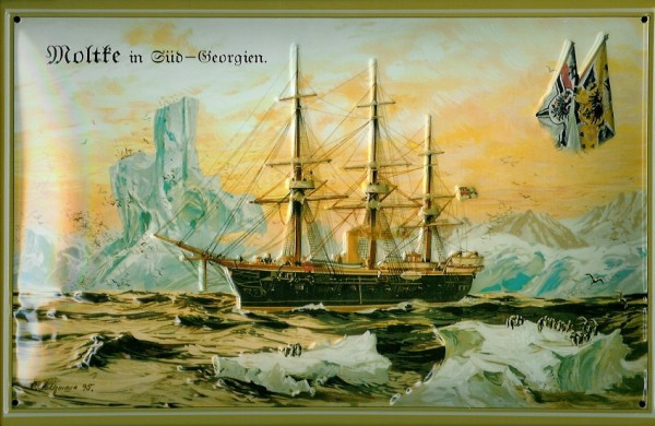 Blechschild Moltke vor Süd Georgien Segelschiff Eisberg Dampfer Schiff Schild Nostalgieschild