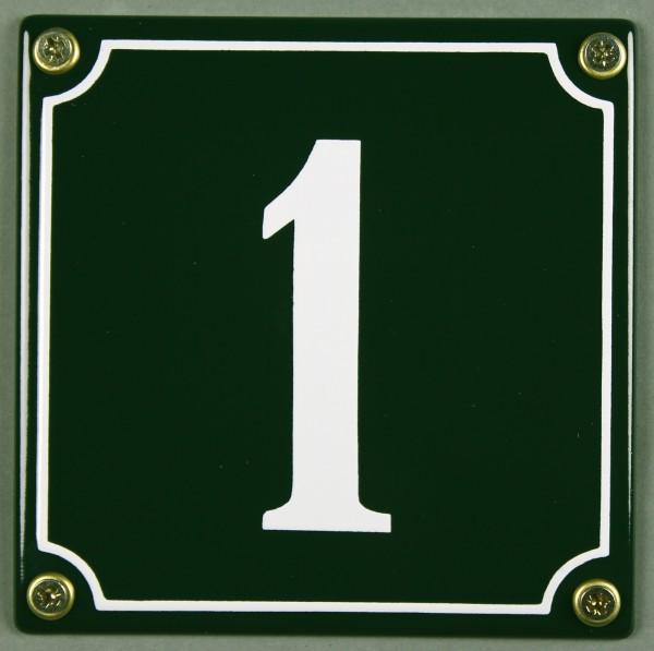 Hausnummernschild 1 grün 12x12 cm sofort lieferbar Schild Emaille Hausnummer Haus Nummer Zahl Ziffer