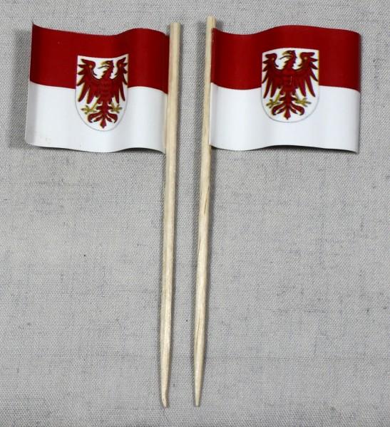 Party-Picker Flagge Brandenburg Papierfähnchen in Spitzenqualität 50 Stück Beutel