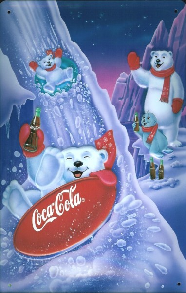 Blechschild Coca Cola Eisbären (2) Schlittenfahrt Schlitten rodeln retro Schild