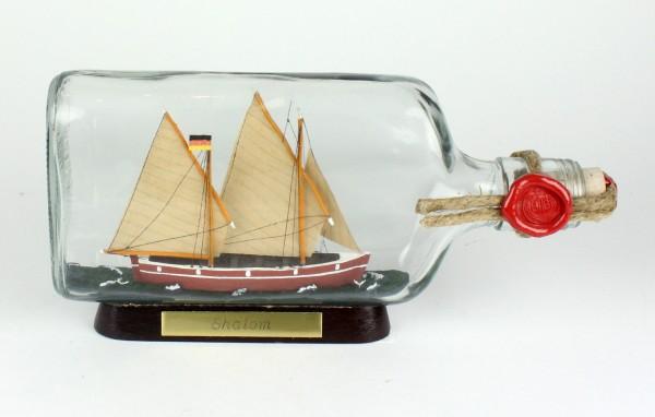Shalom Schalom Bodensee Segler Flachmann Buddelschiff 0,375 Liter ca. 21x9 cm Buddelschiff Museumsqu