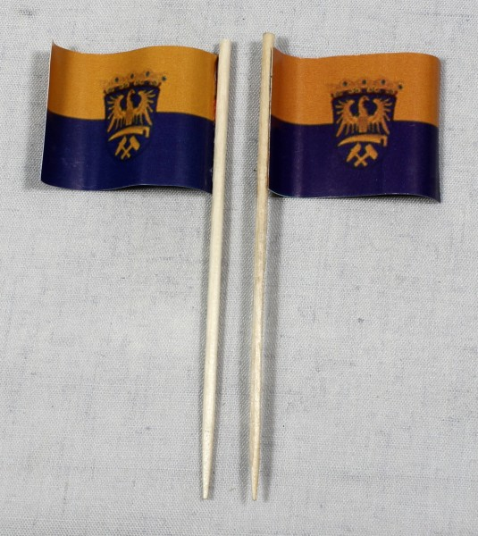 Party-Picker Flagge Oberschlesien Papierfähnchen in Spitzenqualität 50 Stück Beutel