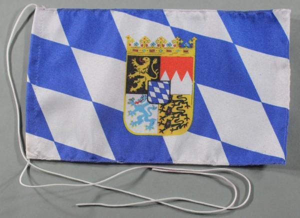 Tischflagge Bayern Raute mit Wappen 25x15 cm optional mit Holz- oder Chromständer Tischfahne Tischfä