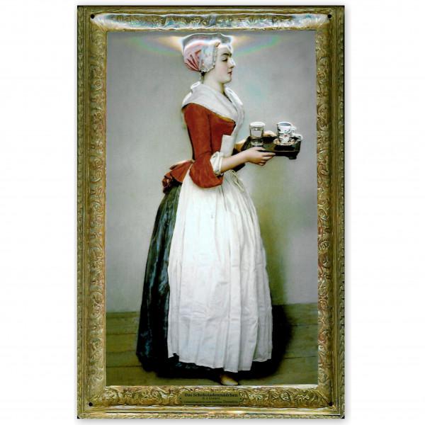 Blechschild Das Schokoladenmädchen E. J. Liotard Schild Nostalgieschild