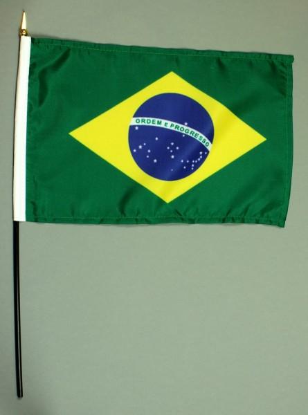 Tischflagge Brasilien 20x30 cm optional mit Tischflaggenständer aus Mahagoni Holz