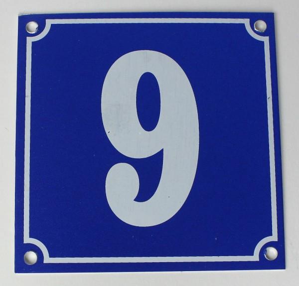 Hausnummernschild Aluminium Aluschild 1 mm Stärke Alu Schild Nr. 9 blau