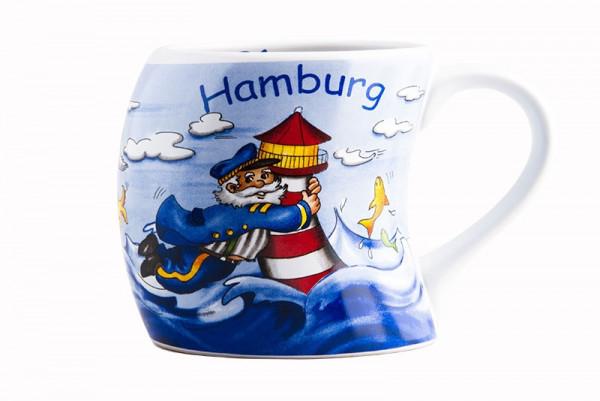 Hamburg Becher Steife Brise Kapitän Leuchtturm Möwe Souvenir schiefe Tasse