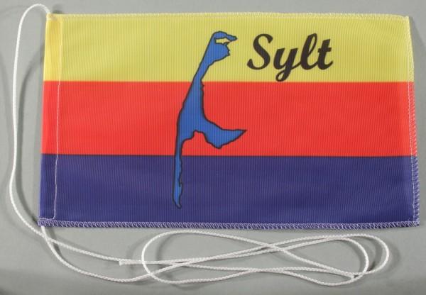 Tischflagge Sylt Nordsee 25x15 cm optional mit Holz- oder Chromständer Tischfahne Tischfähnchen